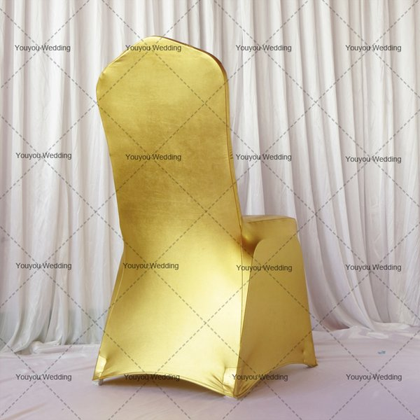 100pcsBronzing Gold/Sliver/Green/Pink/Blue Elastic Spandex/Polyester Chair Cover Flat For Wedding/Party Free Shipping