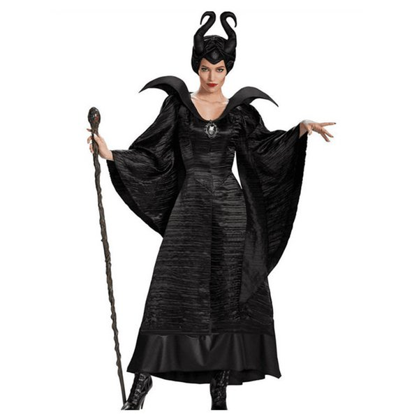Movie Maleficent Costume Adult Women Halloween Witch Cosplay Fairy Tale Sleeping Beauty Curse Witchcraft Black Dress Horns 4 People Halloween Costumes