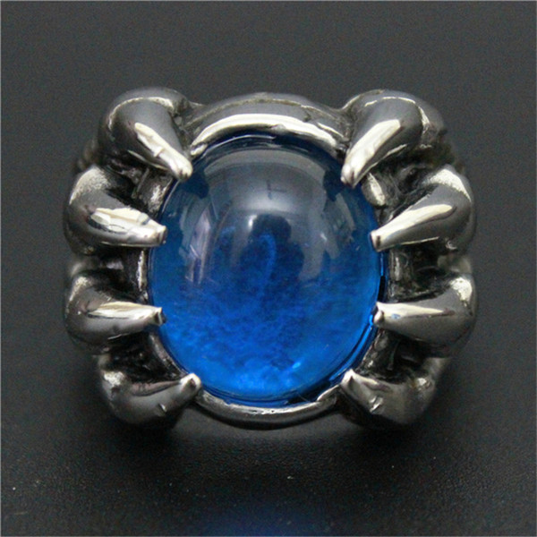 3pcs/lot New Design Blue Color Huge Stone Ring 316L Stainless Steel Fashion jewelry Band Party Biker Dragon Claw Ring