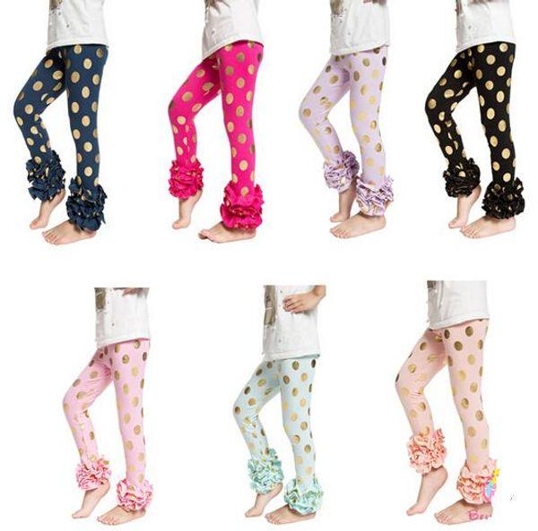 best selling Girls Gold Polka Dot Ruffle Footless leggings Gold glitter pants,gold Metalic Polka Dots pants,girls ruffle leggings trousers