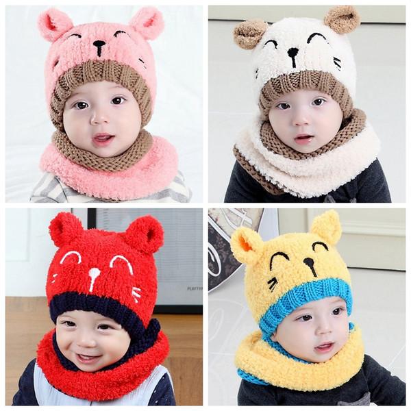 Sombrero y bufanda del bebé del invierno Lindo 3D Cat Crochet Knitted Caps para bebés niños niñas niños niños cuello calentador