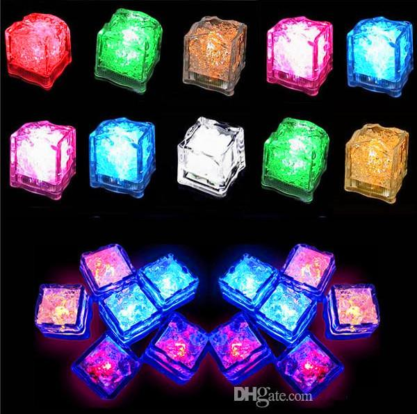 200pcs/lot Party Props Luminous Novelty Sparkling Lights LED Glowing Ice Cubes Wedding Festival Decorating Wine Cup Decor