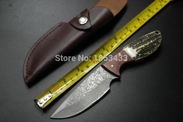 SK-006 Handmade forged Damascus Steel hunting knife fixed knife Rosewood+ Antler with cowhide leather coverfree shipping