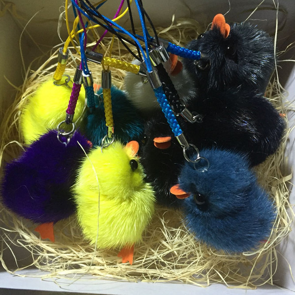 free ship Duck fur mink hair ornaments Keychain bags small pendant pendant small tail mobile phone accessories