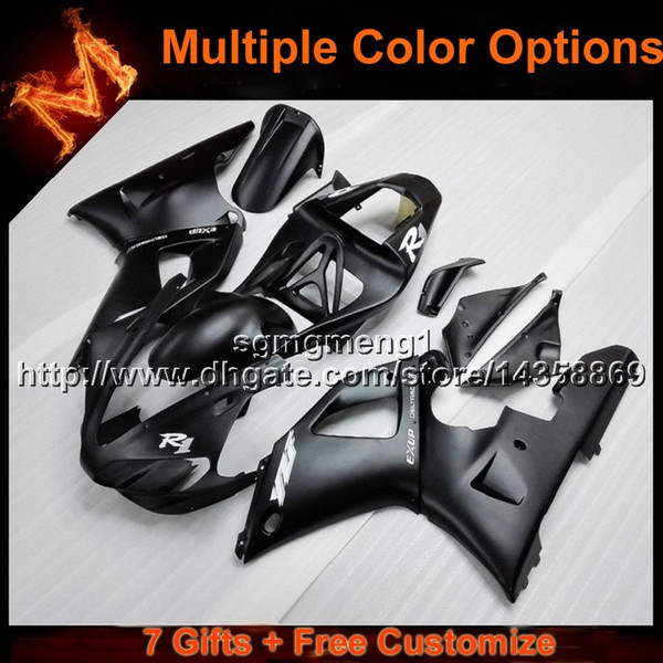 23colors+8Gifts BLACK motorcycle cowl fairing for Yamaha YZFR1 2000-2001 00 01 YZF R1 ABS Plastic Fairings