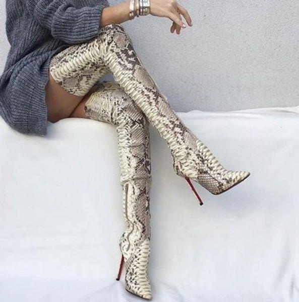 Sexy Brand Python Pattern Botas de muslo en punta de cuero Botas altas Kim Women Snakeskin Lady Zapatos de tacón alto sobre rodilla en bota larga Tallas grandes 42