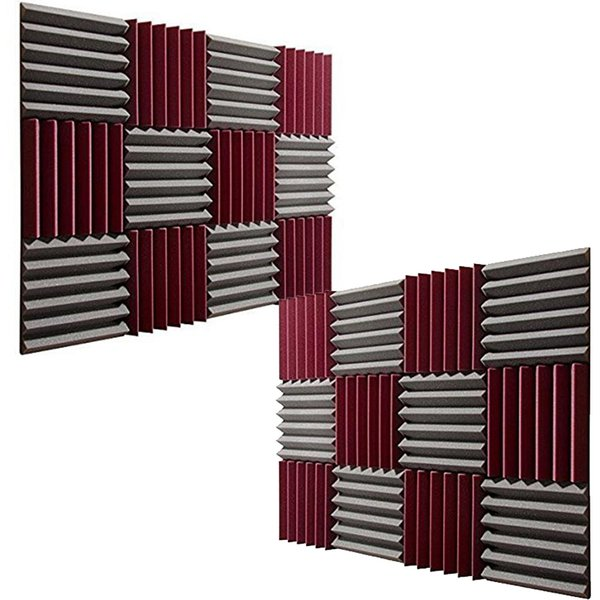 "best selling 24PCS Wedge Acoustic Foam Soundproof Wall Panel Noise Treatment Soundinsulation Sponge Black Burgundy 12x12x2"""