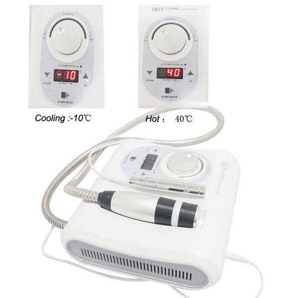 Venda quente Portátil 2 em 1 Cryo Agulha Livre Eletroterapia Mesoterapia Quente Fria Hammer Pele legal Facial Anti Envelhecimento Cuidados Com A Pele Máquina de Beleza