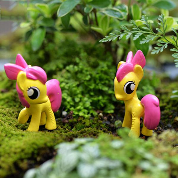 10pcs Pony Horse Zakka Resin Crafts Fairy Garden Miniatures Dollhouse Toys Bonsai Tools terrarium Figurines Micro Landscape Jardin Gnomes