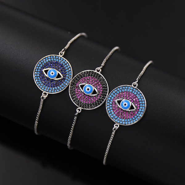 free shipping Wholesale and retail copper box chain round model colorful stone eye silver color