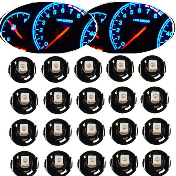 10 / 20Pcs Strumento LED Lampadina T4 T4.2 2835 1SMD Bianco Blu Rosso Verde Neo Cuneo Misuratore di pannello Indicatore di clima Lampadina LED Universale