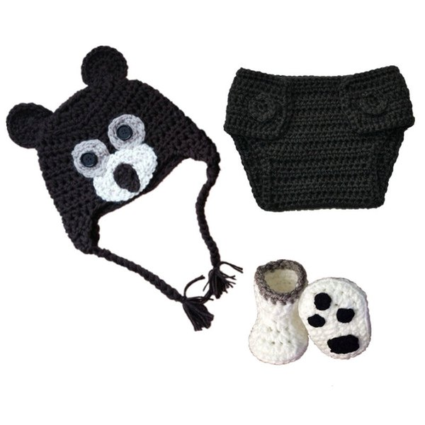 Newborn Black Bear Costume,Handmade Crochet Baby Boy Girl Animal Hat Diaper Cover Booties Set,Infant Toddler Halloween Costume Photo Props
