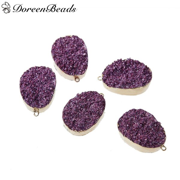 "Resin Druzy Pendants Round Gold Plated Purple Glitter 35mm x23mm(1 3/8"" x 7/8"") - 34mm x23mm(1 3/8"" x 7/8""), 2 PCs 2016 new Free shipping je"
