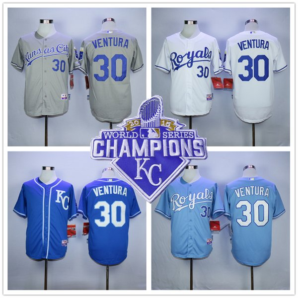 detailed look 10b65 ed664 2016 Kansas City Royals 30# Yordano Ventura Jersey With 2015 World Series  Champions Patch Kc Baby Blue Grey White Stitched From Jayjerseystore,  $15.08 ...