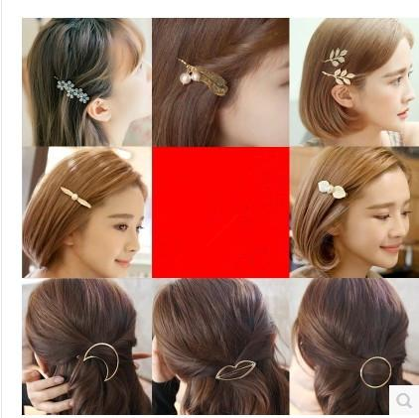 2016 New Brand Hairpins Star Moon Triangle Hair clip 3 leaf Hair Jewelry Hairgrips Hair Clip For Women Headwear
