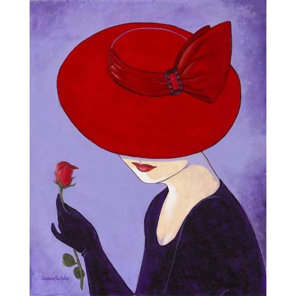 Schöne moderne Frau der Ölgemälden im roten Hut mit Rosenöl auf Segeltuch Hohe Qualität handgemalt