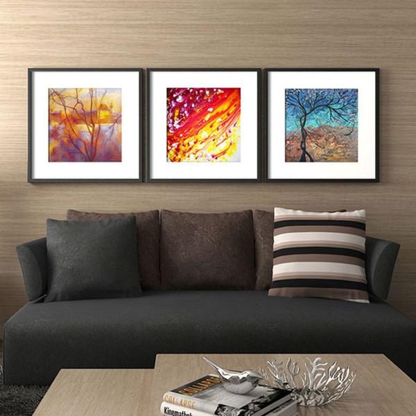 Pintura al óleo abstracta moderna del paisaje del árbol 3 piezas de pinturas de impresión HD en lienzo cuadros de arte de pared para la decoración del hogar