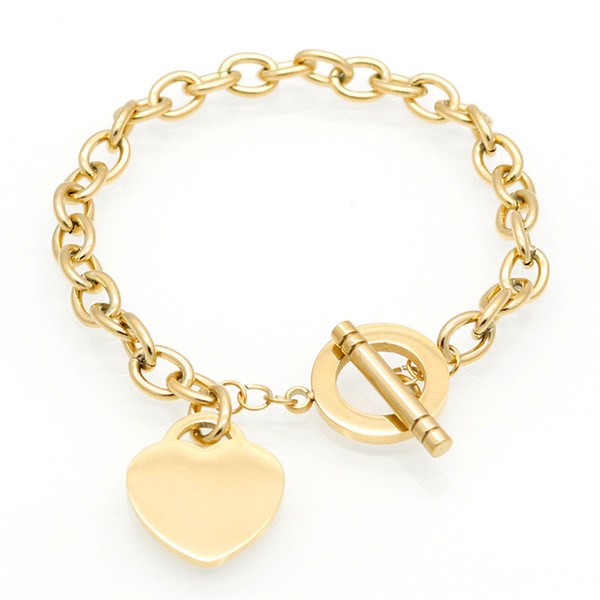 top popular New Fashion Brand Women Stainless Steel Heart charms chains Pulsera Bracelet 1pcs drop shipping 2021