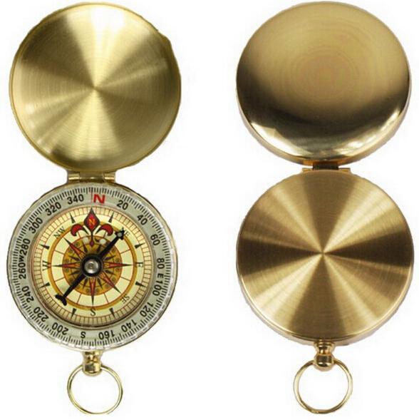 outdoor camping hiking portable brass pocket golden compass navigation ing