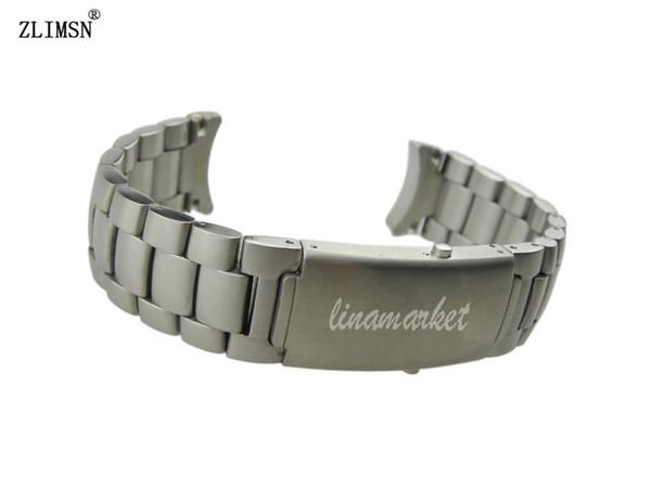 ZLIMSN 20 мм 22 мм чистый твердый изогнутый конец из нержавеющей стали с матовой отделкой ремешок для часов браслеты