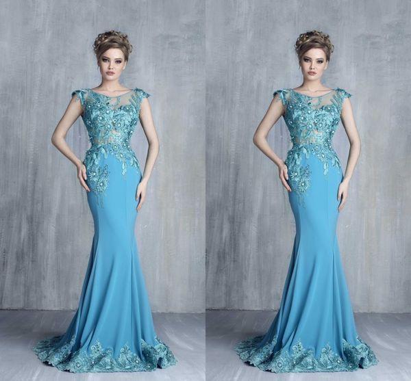 2016 Tony Chaaya Lace Arabic Evening Dresses Cap Sleeves Mermaid ...