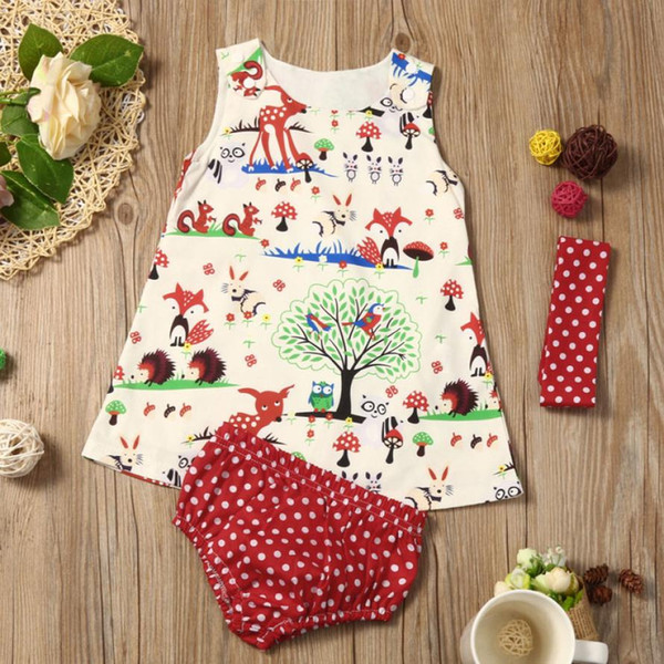 f916801398664 2018 Summer Girls Clothing Cute Baby Clothes Set Infant Girls Woodlands Princess  Dress Shorts Pants Headband