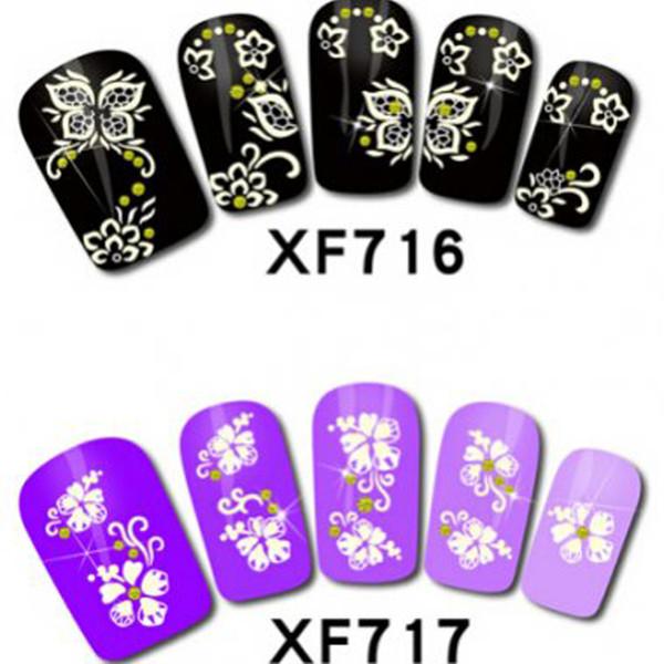 Nail Art Stickers Wholesale 24 Rhinestone Lace Flower Designs 2016 ...