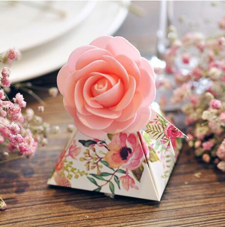 100 Pcs European style purple pink red flower color Pearl paper triangle pyramid Wedding box Candy Box gift boxs wedding favour boxes 000189