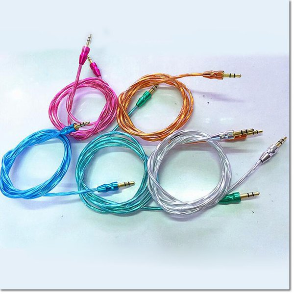 Luxury 3.5mm 1M3FT TPU transparent AUX Audio Cable Cucurbit Auxiliary Cable Jack Stereo Car Extension male to male audio data cable