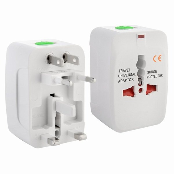 Travel Universal Wall Charge Power Adapter 2 USB per protezione da sovratensione con AU US UK EU International Travel Converter Retail Package