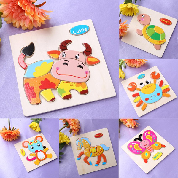 One Set Kids Jigsaw Puzzle Cartoon Animals Dimensional Puzzle Force Children Wooden Jigsaw Puzzle Kids Education Learning Toys