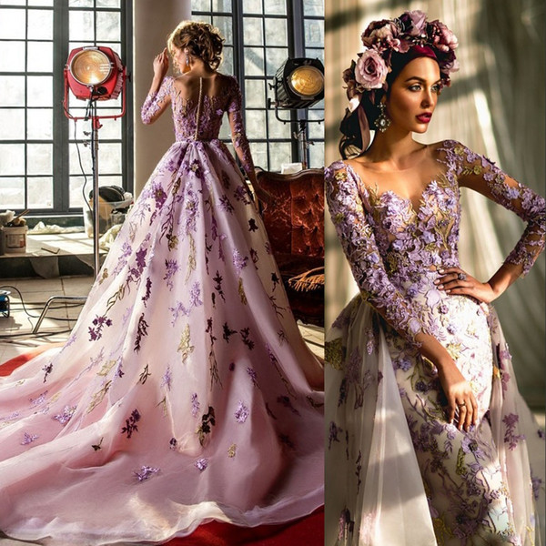 Pale-Purple Embroidery Evening Dress With Over-skirt Sheer Jewel Long Sleeves Applique Mermaid Evening Dresses Glamorous Tulle Prom Dresses