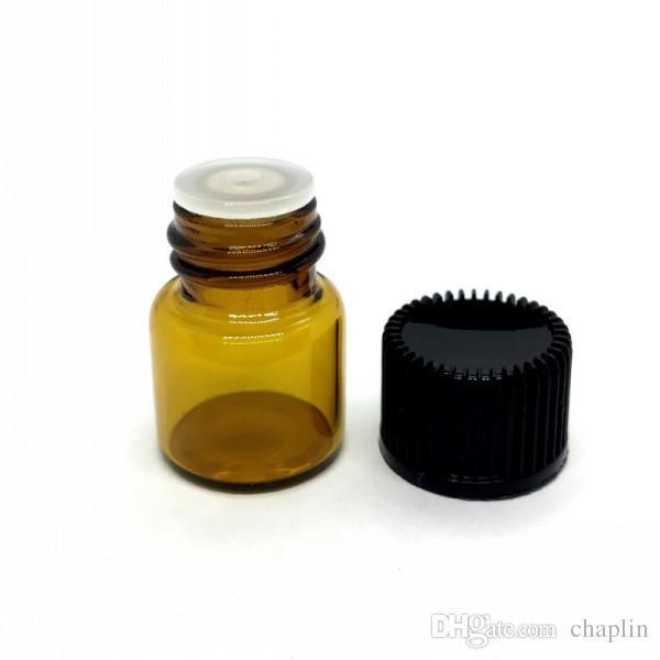 1ML Mini botella de aceite vacío de vidrio ámbar esencial tapa negra 1CC Marrón de muestra Vial Botella de perfume pequeña Viaje debe tamaño