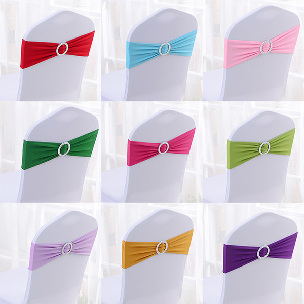 chair cover flower chair Back flower bow elastic ribbon lycra spandex stretch wedding event chair cover band sashes round crown Buckle hot