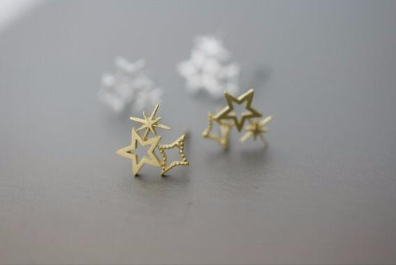 Women's fashion of 18 k gold plated triple star silver earrings jewelry wholesale free shipping