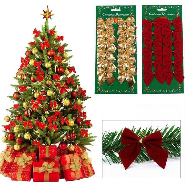 Christmas tree bow decoration New Year ornaments Santa Claus Christmas decoration supplies red gold silver color 12pcs/pack