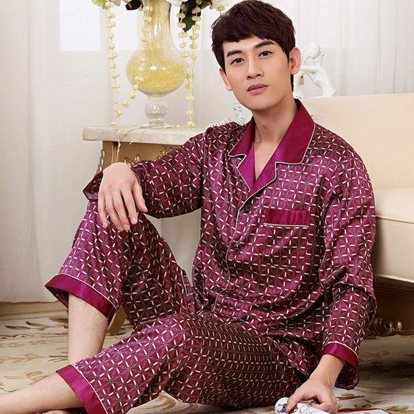 Wholesale-2016 New Luxurious Mens Silk Pajama Set Long Sleeve Satin Sleepwear Pyjamas Men Plus Size 4XL