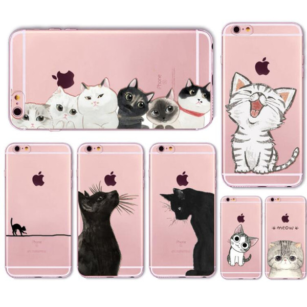 Cute Cat Case Cover For Apple iPhone 6 6s 7 Plus Transparent Soft Silicone Cell Phone Bag Capa Cases