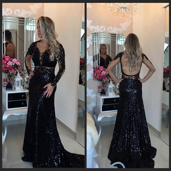 Sexy Noir Sequines Robes De Soirée Perlées Appliques Manches Longues Sirène Robes De Soirée Robe Dos Ouvert À L'arrière Robes De Bal 2016