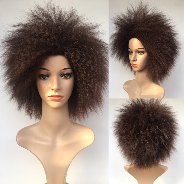 Dark Brown Synthetic Men Women Kinky Curly Wigs With Natural Wig Hair Japanese Ka Fiber Heat Resistant Wigs Hair Medium Length Wigs From Y Demand