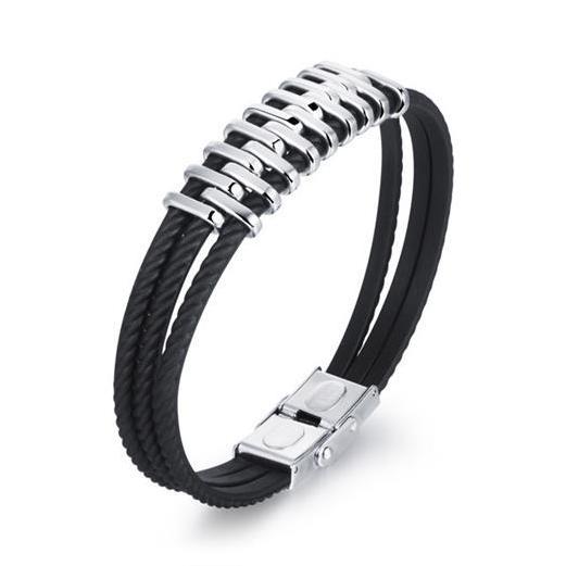 Personnalité Trois Couches Homme Wrap Bracelets Punk Style Cool En Acier Inoxydable Hommes Bijoux De Mode Accessoires Titanium Gel de Silice Hommes Bracel