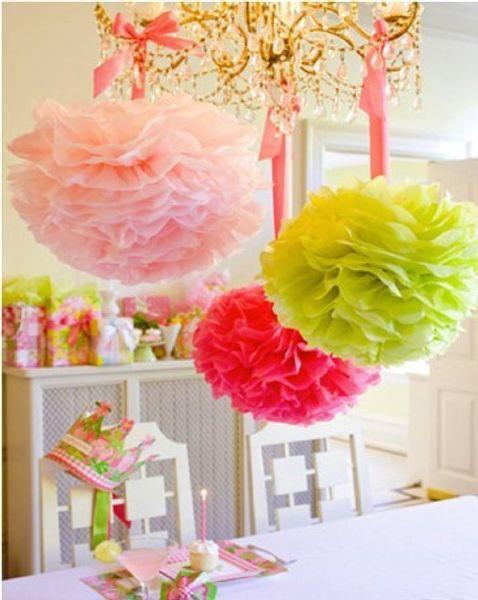 Party Decoration 10pcs Wedding Party's Xmas Home Outdoor Decor Tissue Paper Pom Poms Flower Balls Wedding Paper Flower Ball Origami Producti