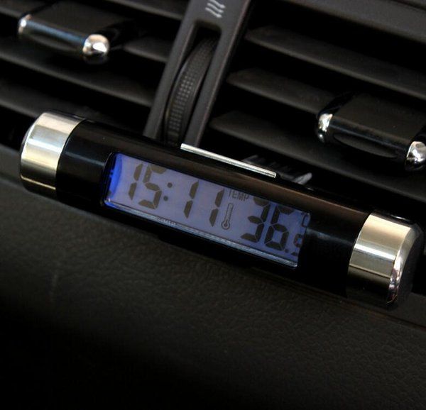 10pcs Car electronic watch auto clock temperature meter car thermometer luminous LED display Outlet clip-on