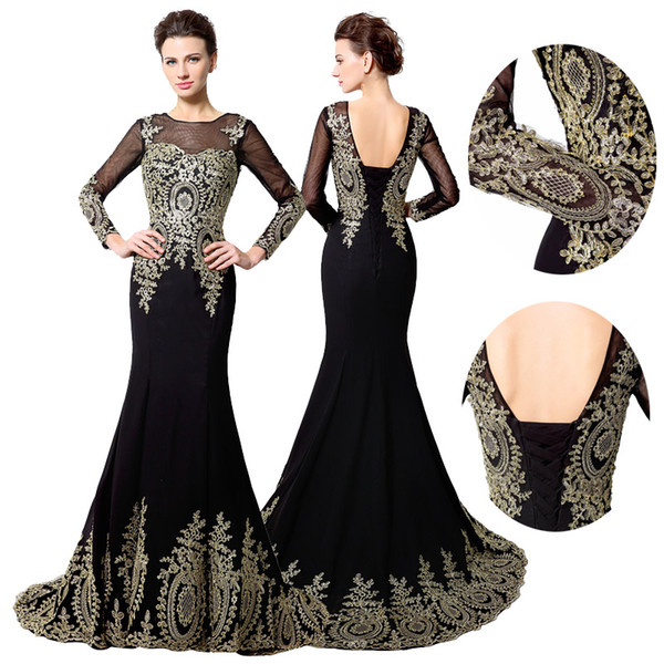 2019 New Design Real Photo Gold Embroidery Mermaid Long Sleeve Prom dresses Sheer Neck Dubai Arabic Trumpet Cheap Evening Formal Party Dress