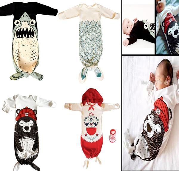 2016 New Infant Baby Mermaid Sleepsack Sleeping bags Baby cotton Sleeping Bag Animal Shark sleeping blanket baby clothing for Newborn