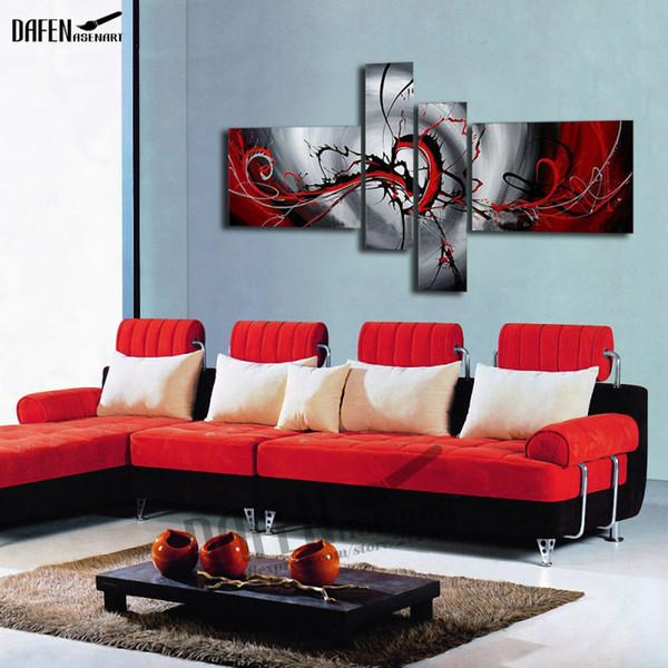 4 adet El Boyalı Soyut Yağlıboya Tuval Üzerine Kırmızı ve Gri Duvar Resmi Özet Tuval Resimlerinde Ev Dekor Sanat Yok çerçeve