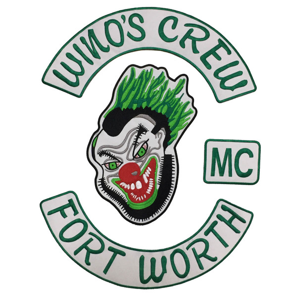 HOT SALE COOLEST WINO'S CREW FORT WORTH MC BACK EMBROIDERY PATCH MOTORCYCLE CLUB VEST OUTLAW BIKER MC COLORS PATCH FREE SHIPPING