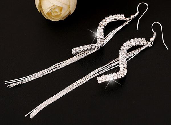 Fashion Bride Earring Jewelry Unique Design S Shape Crystal Stone Silver/Gold Color Earrings Lady Party Hook Earring Women Dangle Earring