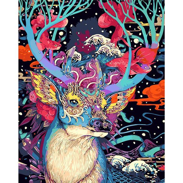 Sin marco Ciervos de Navidad Animales DIY Pintura Por Números Kits Pintado a mano Pintura al óleo Regalo único para el hogar Arte de la pared 40x50 cm Inicio decora