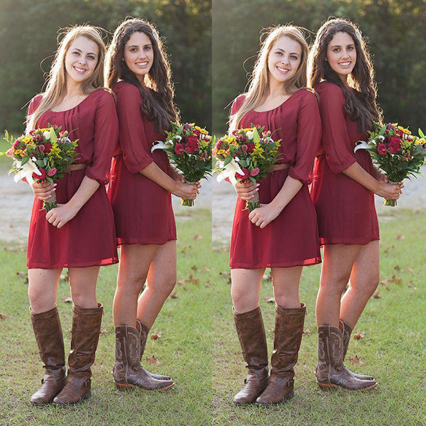 New Arrival 2016 Country Style Short Bridesmaid Dresses Under 100 Cheap Scoop Dark Red Chiffon 3/4 Long Sleeves Casual Formal Gown EN3225